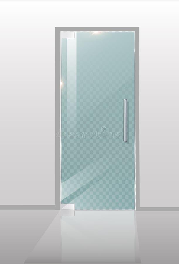 现代玻璃门 建筑项目的透明概念 向量图形例证 皇族释放例证