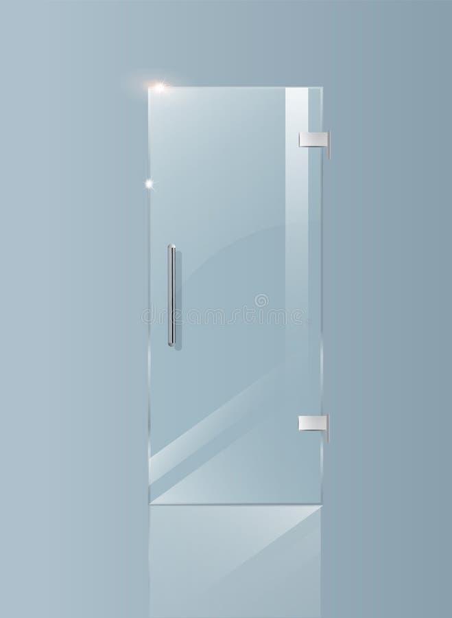 现代玻璃门 建筑项目的透明概念 向量图形例证 向量例证
