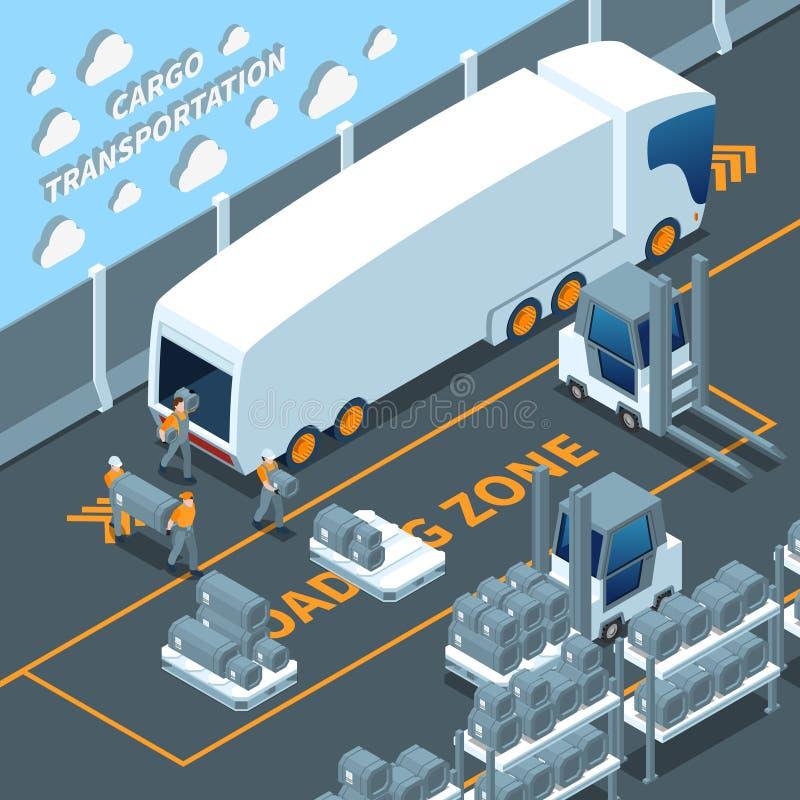 现代电卡车等量构成 向量例证