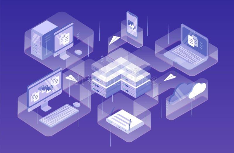 现代电子设备、设备或者飞行在他们之间的小配件和纸飞机 数据网管理,计算机 库存例证