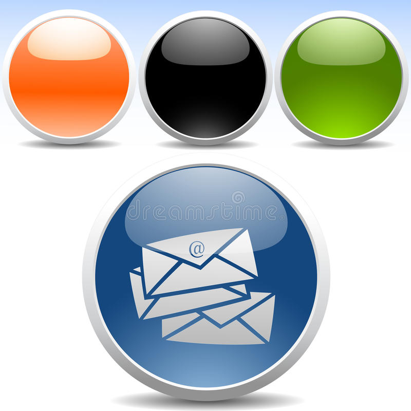 现代电子邮件光滑的图标 库存例证