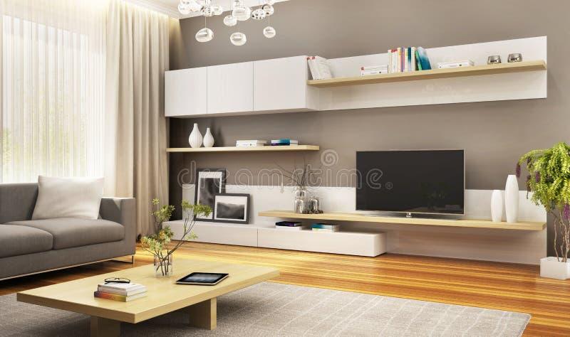 现代电视内阁在豪华客厅 向量例证