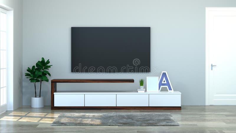 现代电视木内阁在空的屋子内部背景3d例证家里设计,背景架子和书在书桌上  库存图片