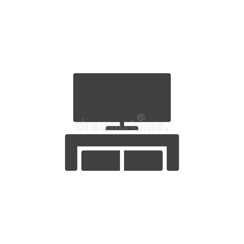 现代电视桌立场传染媒介象 库存例证