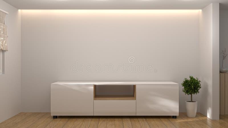 现代电视白色木内阁,在空的屋子内部背景3d例证家里设计,背景架子和书在 免版税库存图片