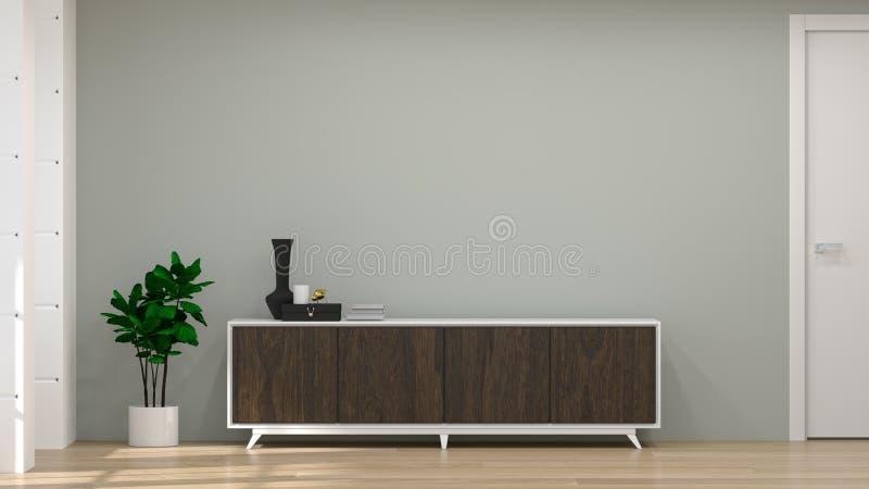 现代电视黑暗的木内阁在空的屋子内部背景3d例证家里设计,背景架子和书在de 向量例证