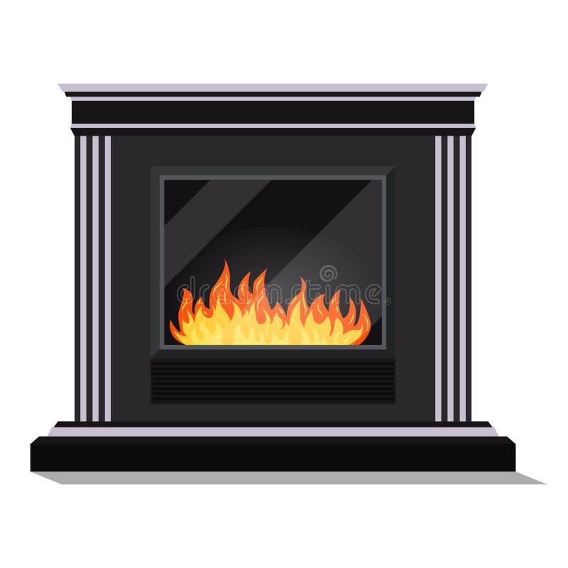 现代电黑舒适fireburning的壁炉被隔绝的象  库存例证