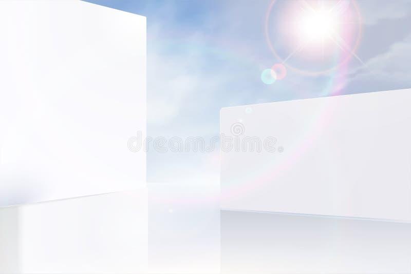 现代白色墙壁和天空蔚蓝 向量例证