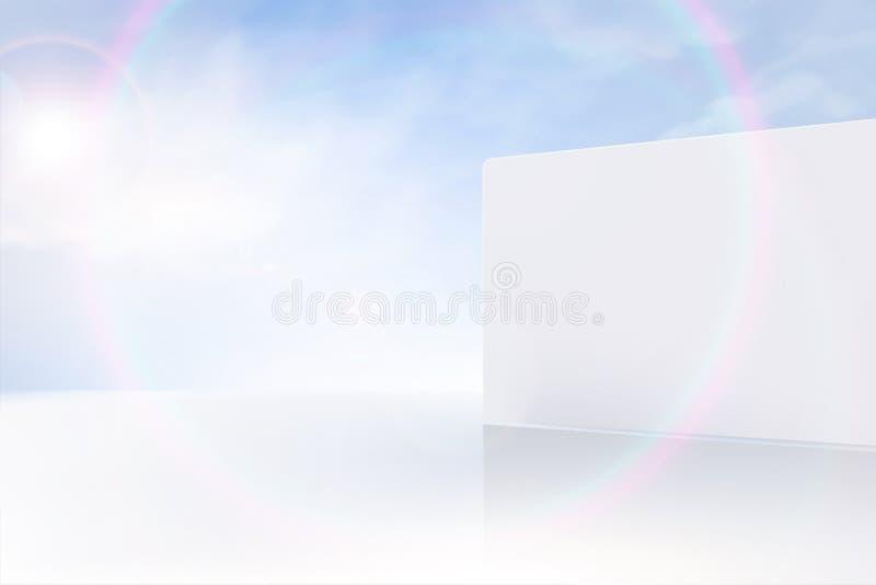 现代白色墙壁和天空蔚蓝 库存例证