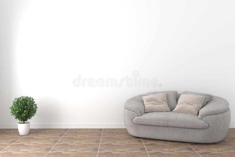 现代白色热带样式内部的嘲笑与灰色扶手椅子和植物白色墙壁背景的 3d?? 皇族释放例证