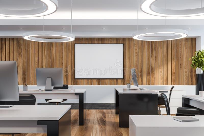 现代白色空的办公室内部与工作区 3d回报 嘲笑 皇族释放例证
