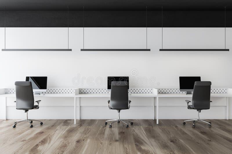 现代白色露天场所办公室,黑天花板 向量例证