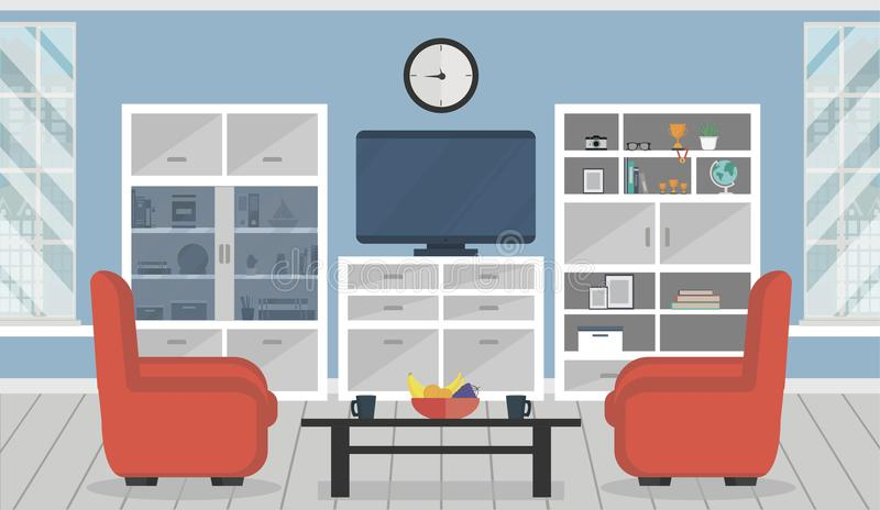 现代的公寓 与家具的舒适客厅内部 免版税库存照片