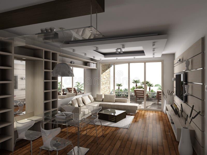 现代的客厅 免版税库存图片