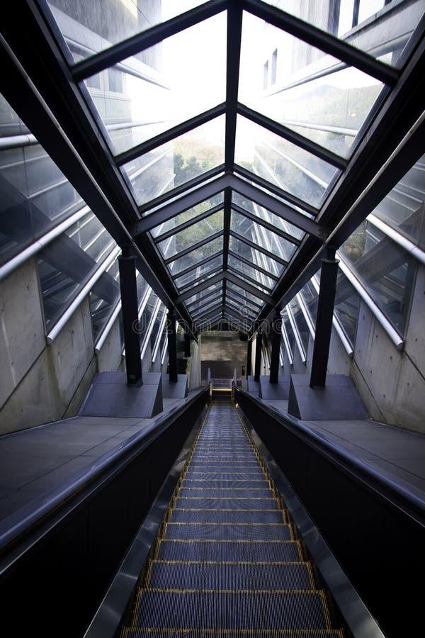 现代的自动扶梯 库存照片