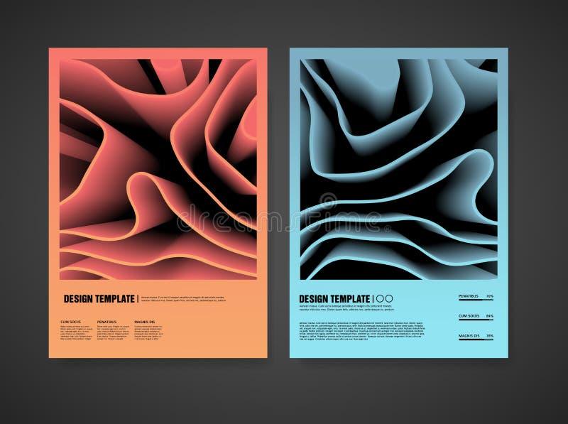 现代盖子模板设计有抽象样式背景的  布局有颜色3d元素背景 r 库存例证