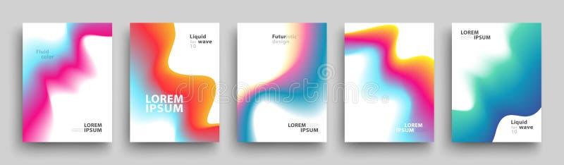 现代盖子模板设计 上色流体 套时髦全息照相的梯度为介绍,杂志,飞行物塑造 10 eps 库存例证
