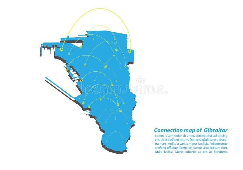 现代直布罗陀地图连接网络设计,直布罗陀从概念系列的地图事务的最佳的互联网概念 库存例证