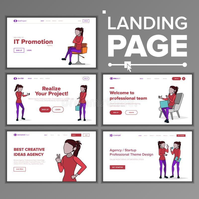 现代着陆页概念传染媒介 线路妇女 : 在线界面 创造性的想法 coworking的事务 办公室投资 库存例证