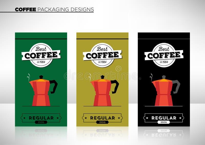 现代矢量咖啡包装模板 库存图片