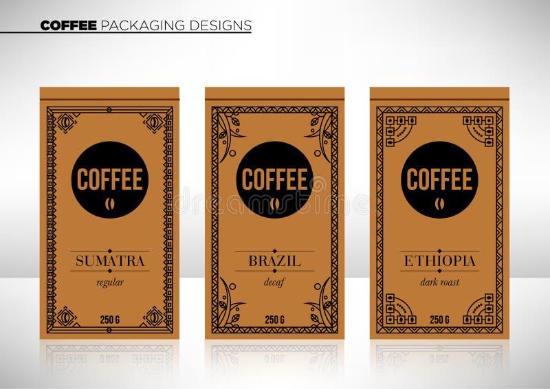 现代矢量咖啡包装模板 库存照片