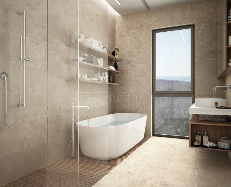 现代石灰石卫生间、浴缸和阵雨,与瓶,大全景窗口的架子 库存照片