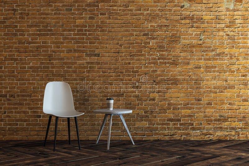 现代砖客厅 库存例证