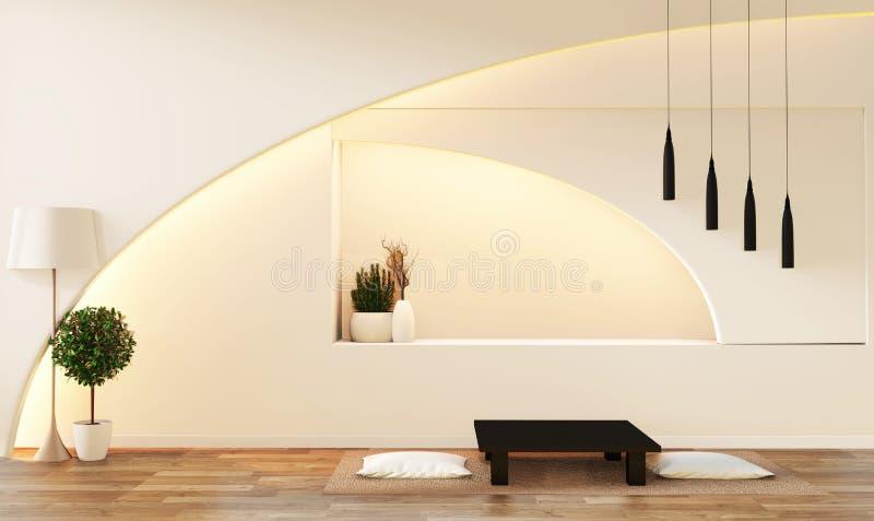 现代禅宗样式白色客厅 平安和平静的客厅 与东方对象和暗藏的光的装饰 3d?? 皇族释放例证