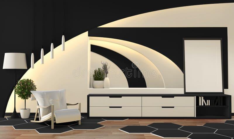 现代禅宗样式黑白客厅 平安和平静的客厅 与东方对象和暗藏的光的装饰 3d 向量例证