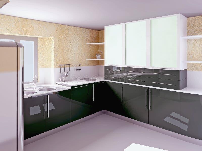 现代秀丽黑色的厨房 库存图片