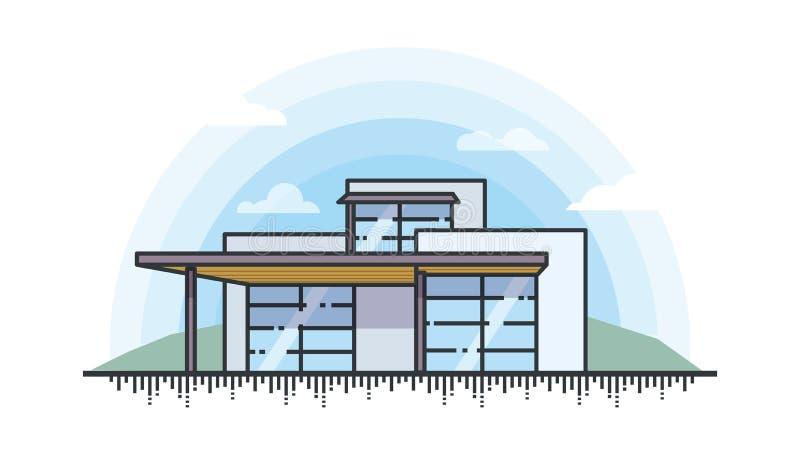 现代私有房子的例证的线型 向量例证
