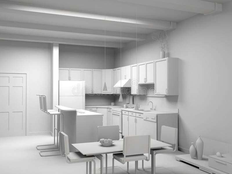 现代空白内部的厨房 库存例证