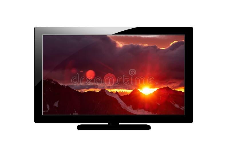 现代空白的平面屏幕plazma电视 背景查出的白色 有山的图象的屏幕 免版税库存图片