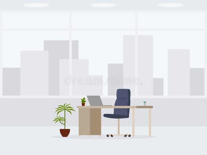现代空的办公室3/4视图设计  工作地点的传染媒介例证 库存例证