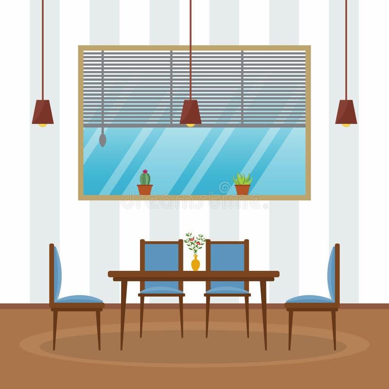 现代空的咖啡馆餐馆内部家具平的传染媒介例证 库存例证