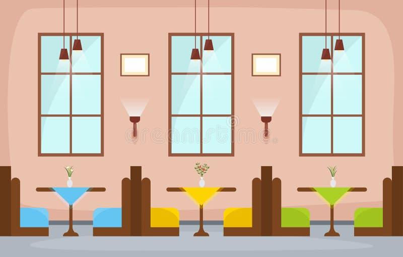 现代空的咖啡馆餐馆内部家具平的传染媒介例证 向量例证