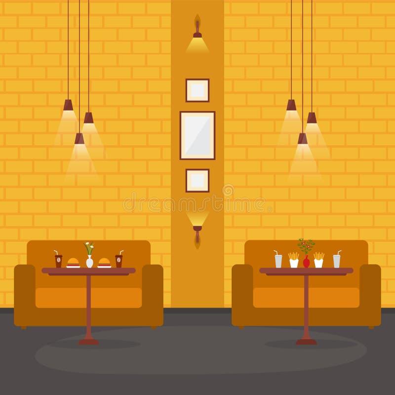 现代空的咖啡馆餐馆内部家具平的传染媒介例证 皇族释放例证