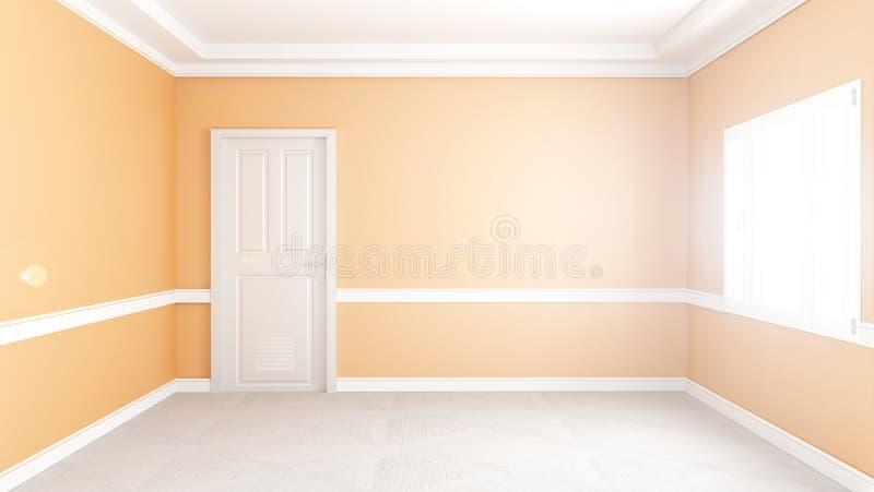 现代空的客厅内部,黄色墙壁大模型背景 3d?? 库存例证