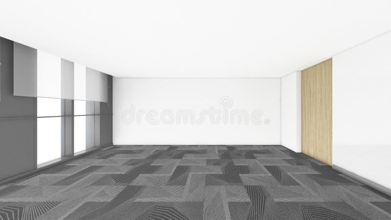 现代空的室, 3d回报室内设计, illustrati的嘲笑 皇族释放例证