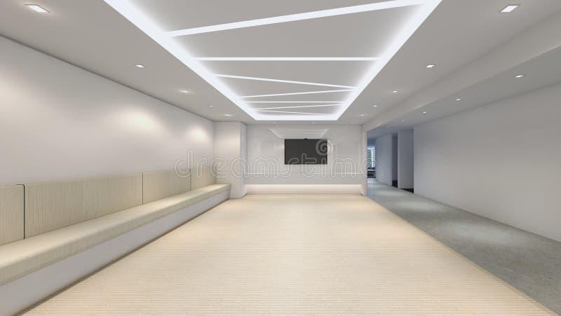 现代空的室, 3d回报室内设计, illustrati的嘲笑 库存例证