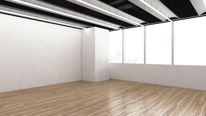 现代空的室, 3d回报室内设计, illustrati的嘲笑 库存照片
