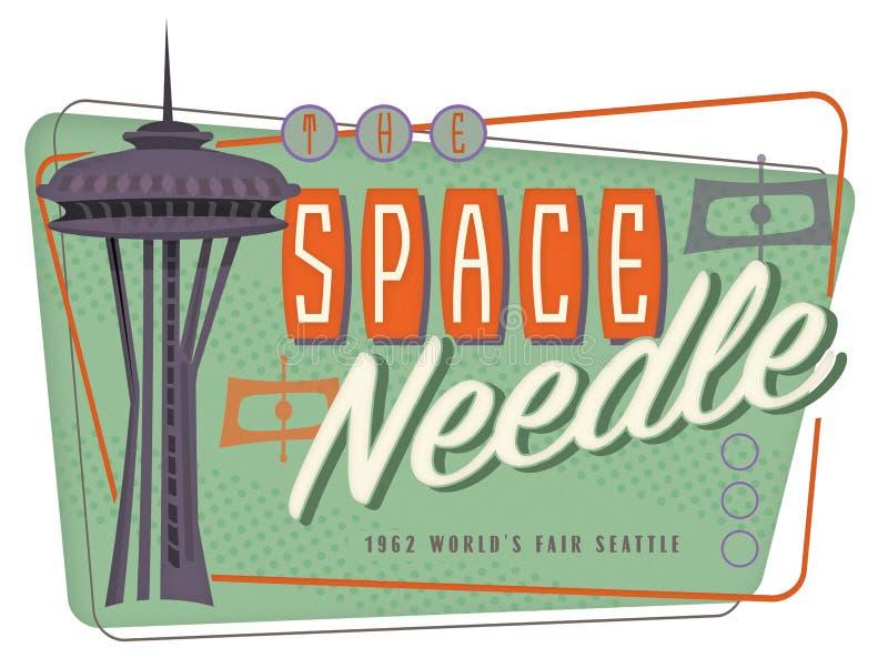 现代空间针西雅图流行艺术减速火箭的中世纪 皇族释放例证