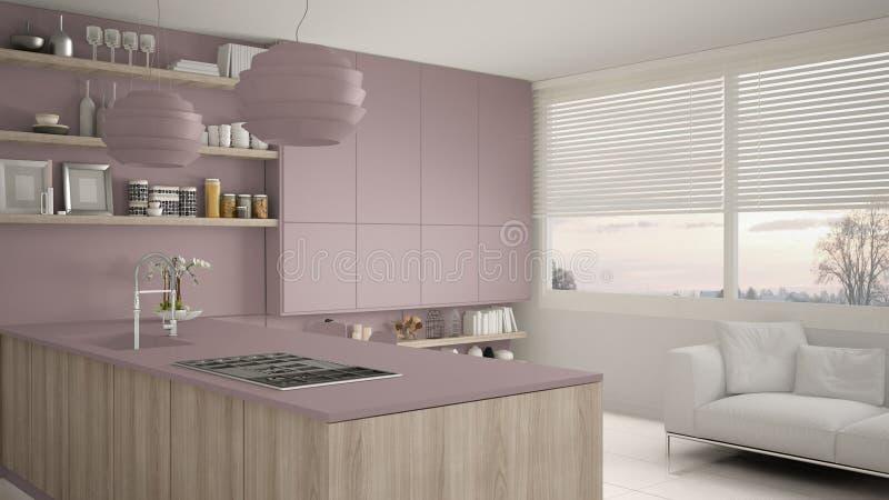 现代紫罗兰和木厨房有架子的和内阁、沙发和全景窗口 当代客厅,最低纲领派 库存例证