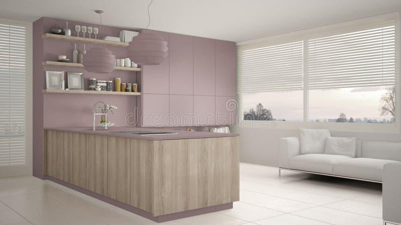 现代紫罗兰和木厨房有架子的和内阁、沙发和全景窗口 当代客厅 皇族释放例证