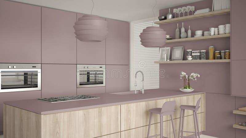 现代紫罗兰和木厨房有架子的和内阁,海岛有凳子的 当代客厅,最低纲领派建筑学 向量例证