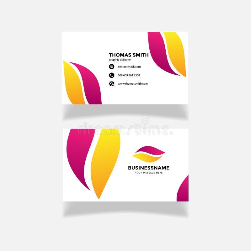 现代紫色黄色名片模板 平的设计,商标创造性的抽象传染媒介传染媒介 向量例证