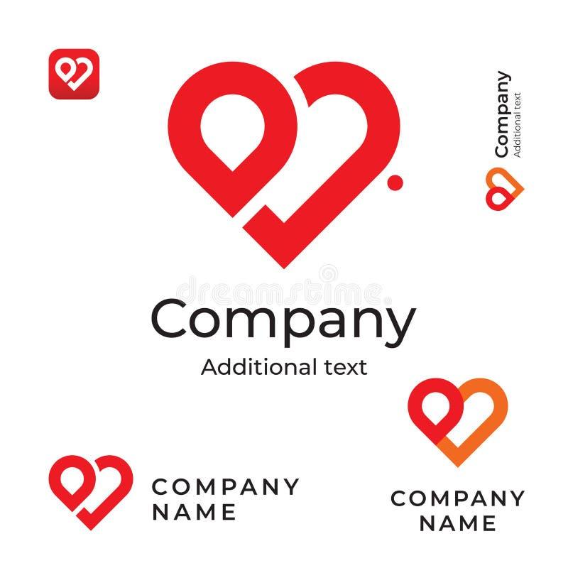 现代红色心脏线商标爱身分品牌和App象标志商业概念集合模板 皇族释放例证