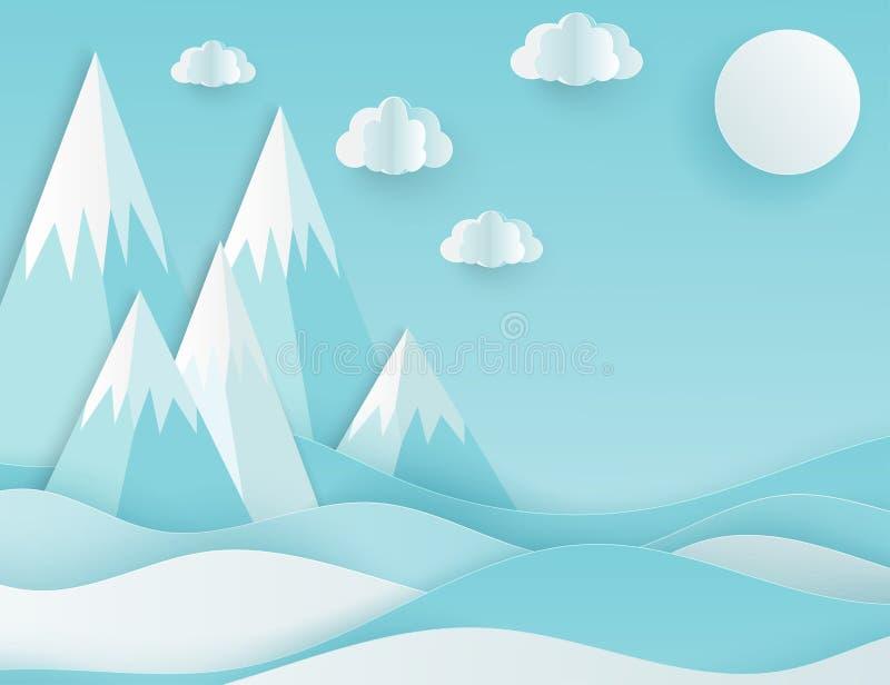 现代纸艺术云彩和山 逗人喜爱的动画片蓬松云彩 向量例证