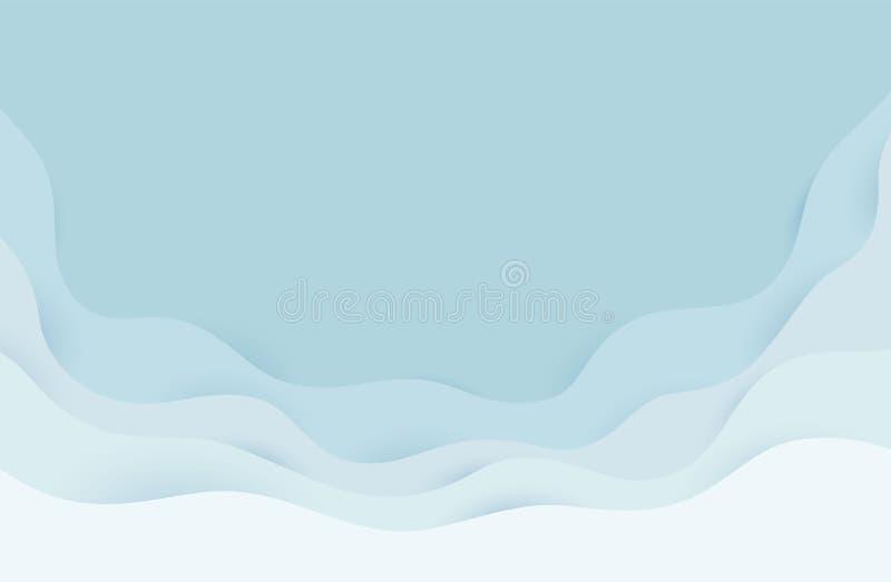 现代纸艺术动画片摘要灰色和浪端的白色泡沫波浪 现实时髦工艺样式 Origami设计模板 皇族释放例证