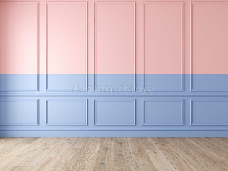 现代经典双重与墙板和木地板的颜色空的内部 皇族释放例证